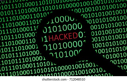 Hacked Data / Magnifying glass showing the word HACKED in red on a computer screen filled with green ones and zeros. Depiction of hacked data.