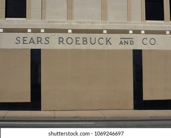 HACKENSACK, NEW JERSEY - APRIL 14: Vintage Sears Roebuck department store on April 14, 2018 in Hackensack, New Jersey. Sears was founded in 1982 as a mail order catalog company.