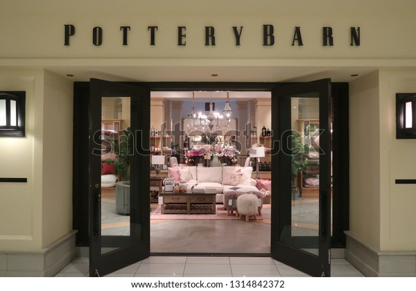 HACKENSACK, NEW JERSEY/USA - January 8, 2019: Potter Barn at the Shops at Riverside, an upscale shopping mall in Bergen County. Editorial use only.