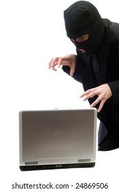 A hacker about to break into a portable computer, isolated against a white background