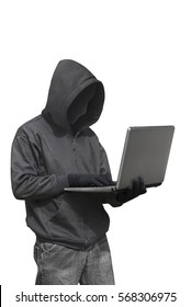 Hacker with anonymous mask with laptop while standing isolated against white background