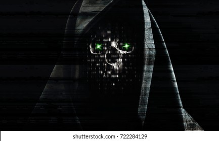 hacker attack background, portrait of a skull in the hood over black background