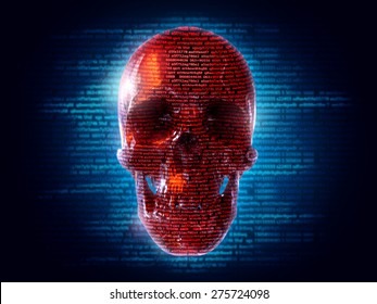 hacker attack background with skull