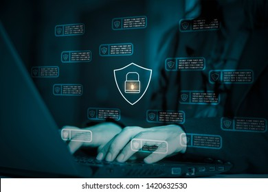 Hacker attack laptop computer,background icon binary,shield and padlock,concept preventing website attack,keeping financial information,block chain and internet of things(iot)technology,cyber security