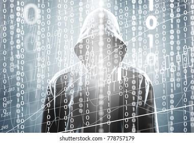 Hacker with binary code