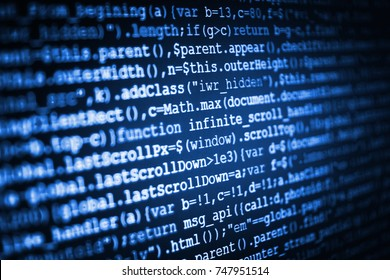 Hacker breaching net security. Programmer occupation job. Mobile app developer. Javascript functions, variables, objects. Webdesigner Workstation. Technology background. Software engineer at work.