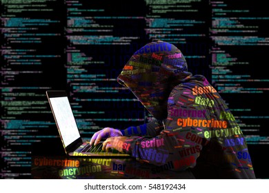 Hacker in a colored hoody typing in front of a code background with binary streams and information security terms cybersecurity concept