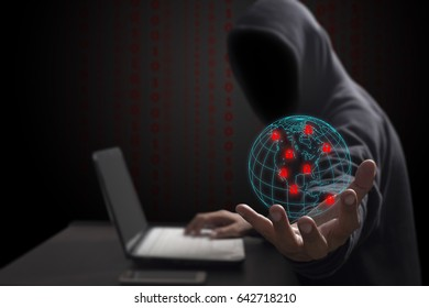 Hacker with computer ransomware attacking,with hard disk drive lock. Cyber attack concept
