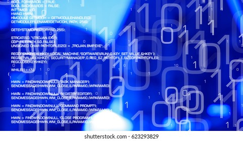 Hacker cyber attacks, cybercrime blue background