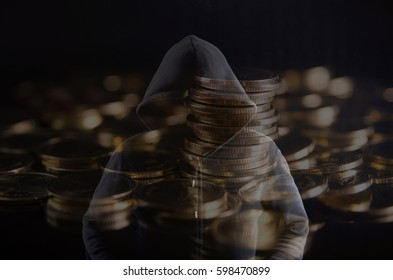 Hacker cyber coin in Background Abstract.