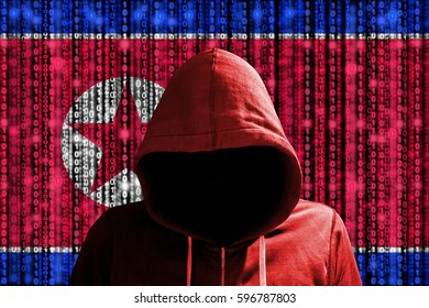 Hacker in a dark red hoody in front of a digital korean flag and binary streams background cybersecurity concept