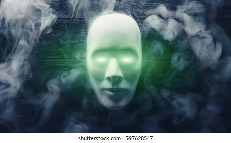 Hacker, Darknet, Cybercrime Mask with smoke on wooden background