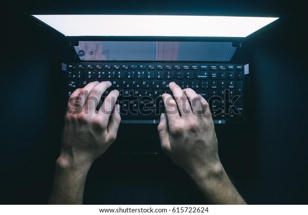 Hacker Hacks Server Bank Accounts Dark Stock Photo (Edit Now) 615722624