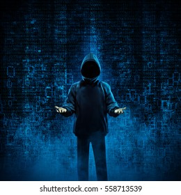 Hacker for hire / 3D illustration of shady hooded figure offering his services in binary data environment. Image including figure totally computer generated.