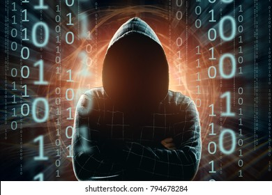 Hacker in the hood, hacker attack, silhouette of the man, mixed media. The concept of a sudden attack, cryptography, data security.
