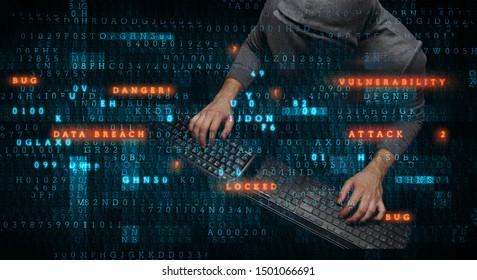 Hacker in hoodie dark theme
