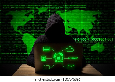 hacker in a jacket with a hood with a laptop sits at the table. Added identity theft icons, account hijacking, bank data theft and world map.