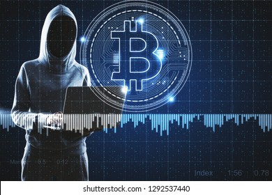 Hacker with laptop and bitcoin sign. Cryptocurrency and hacking concept. Double exposure
