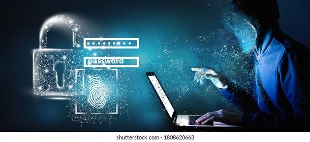 Hacker with laptop. Computer crime..3D illustration