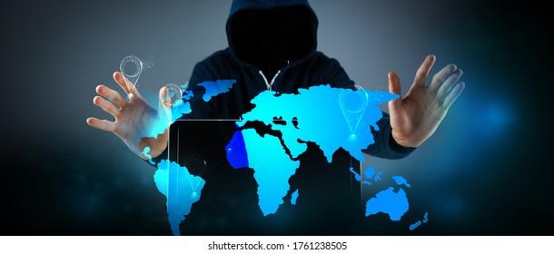 hacker with laptop world cyber war.