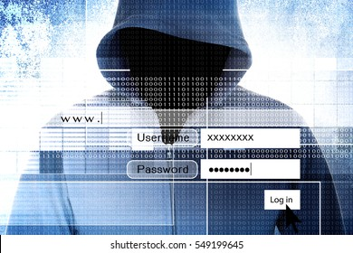 Hacker With Log On Screen,Computer Fraud Concept Background