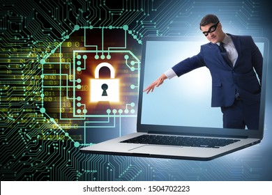 Hacker man trying to steal personal data