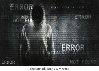 Hacker on abstract error background. Hacking and data concept. Double exposure