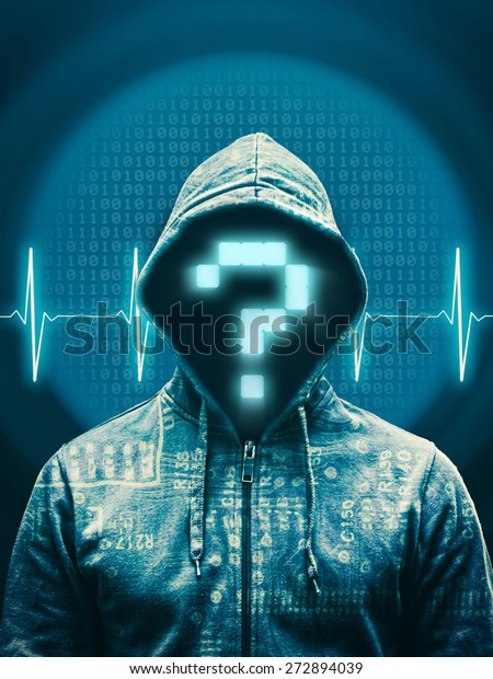 Hacker with question mark against abstract background