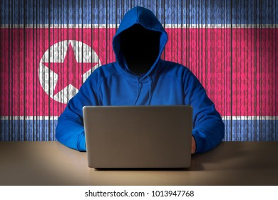 Hacker sitting in front of a laptop on background of digital flag of North Korea. Cyber Security concept.