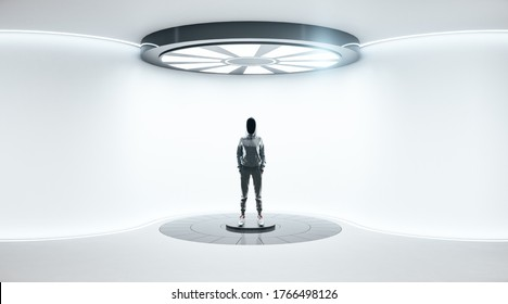 Hacker standing in futuristic concrete space ship interior with light. Abstract tunnel. Future and design concept.