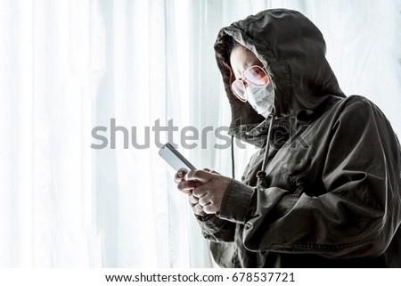 Hacker Terrorists Hood Masked Working On Stock Photo (Edit