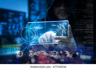 Hacker using clear tablet with HUD panel and code graph bar data analytsis element for cyber technology concept, dark and grain process, shallow depth of field select focus on hands