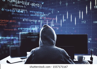 hacker using computer with big data mathematical formulas  hologram. Technology and innovation concept