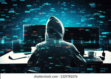 Hacker using computer with forex candlestick charts. Malware and trade concept. Double exposure