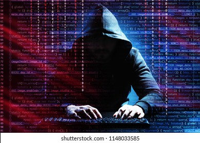 Hacker using keyboard at table on dark background. Concept of cyber security and attack