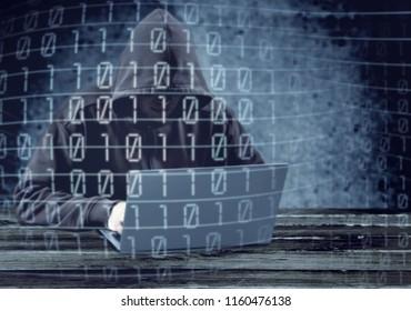 Hacker using laptop. Hacking the Internet.