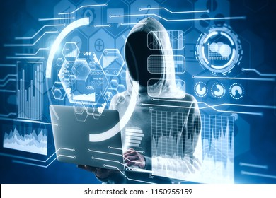 Hacker using laptop with interface on blurry background. Hacking and phishing concept. Double exposure