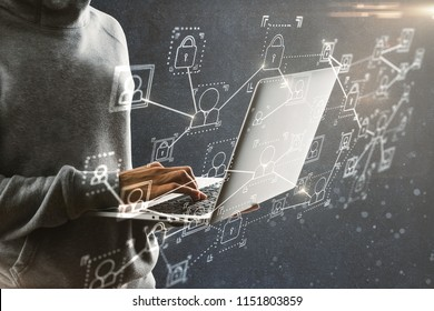 Hacker using laptop with interface on blurry background. Hacking and jacking concept. Double exposure