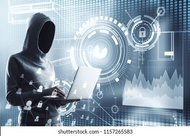Hacker using laptop with interface on blurry background. Hacking and thief concept. Double exposure
