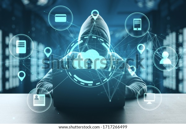 Hacker using laptop in server room with cloud computing diagram. Network and communication concept. Double exposure