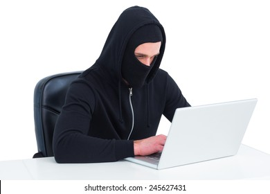 Hacker using laptop to steal identity on white background