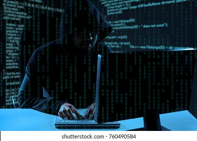 Hacker at work. Cyber crime concept.