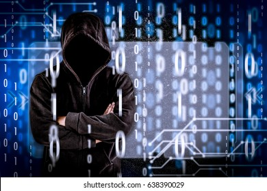 hacker at work with graphic