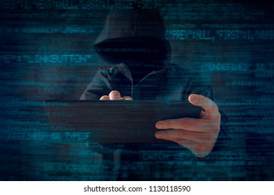 Hacker at work with graphic user interface around. Cyber security concept.