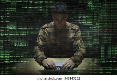 hacker at work with graphic user interface around