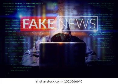 hacker working on a computer laptop, double exposure with screen of fake news. manipulated content on internet . anonymous face