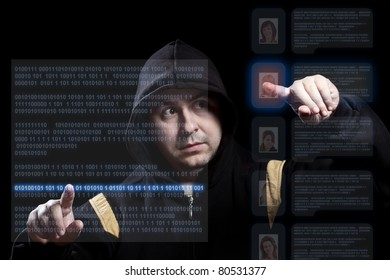hacker working on modern technology, focus on the hand