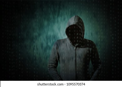 Hackers with computer data at the darkness.
