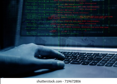 Hacker's computer screen is hacking system