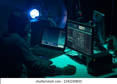 Hackers making cryptocurrency fraud using virus software and computer interface. Blockchain cyberattack, ddos and malware concept. Underground background.